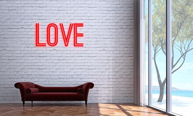 Mock up e decoração e sala de estar e fundo de parede de tijolo e amor