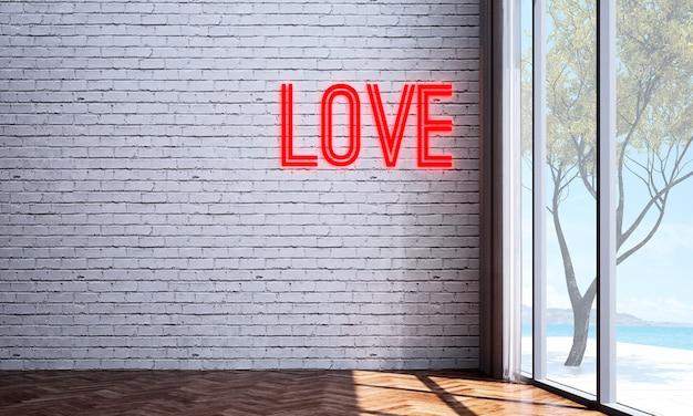 Mock up e decoração e sala de estar e fundo de parede e sinal de amor