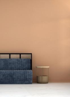 Mock up e decoração e sala de estar e fundo de parede marrom