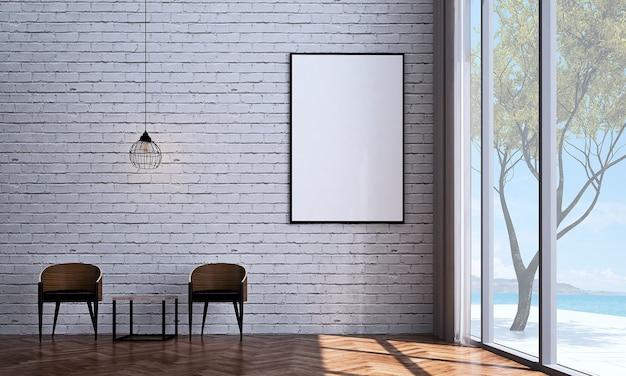 Mock up e decoração e sala de estar minimalista e fundo de parede de tijolo branco