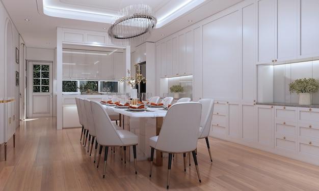Mock up e decoração e sala de jantar e fundo branco