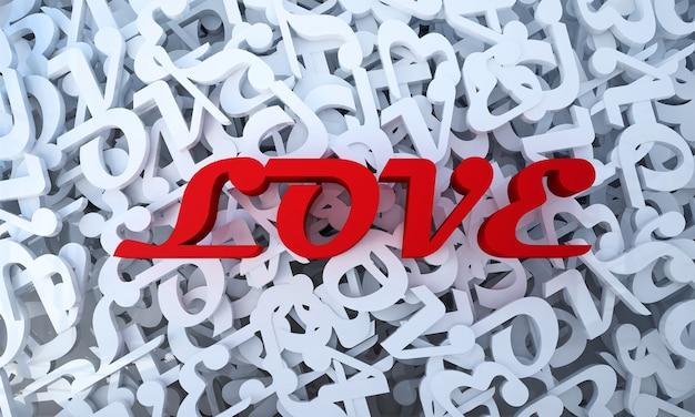 Mock up e decoração e texto de amor e fundo branco