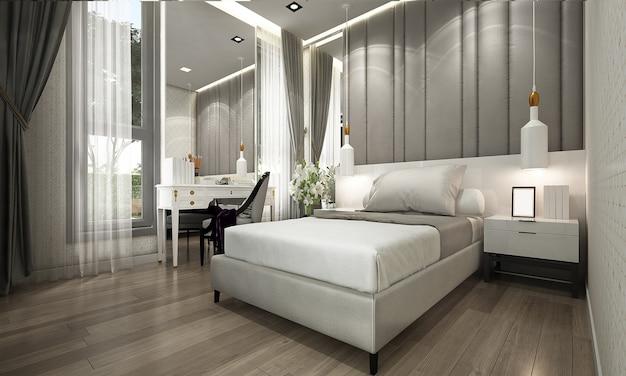 Mock up e decoração, quarto de luxo e fundo de parede