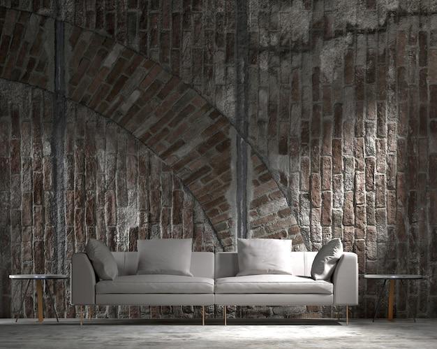 Mock up e decoração, sala de estar e fundo de parede de tijolo vazio