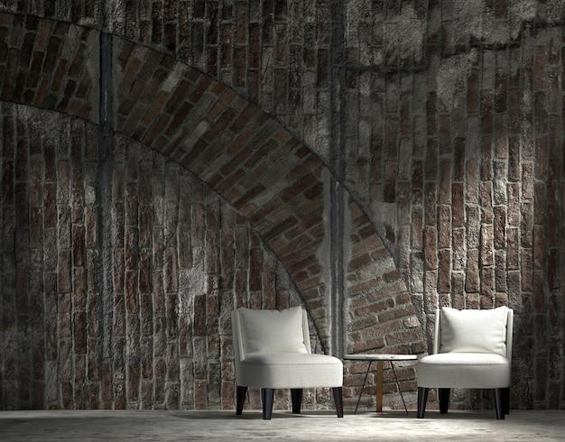 Mock up e decoração, sala de estar minimalista e loft e fundo de parede de tijolo