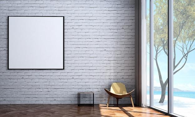 Mock up e decoração, sala de estar minimalista e loft, moldura de lona vazia e fundo de parede