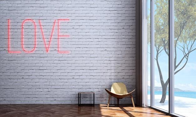 Mock up e minimalista e sala de estar loft, moldura de lona vazia e fundo de parede de tijolos
