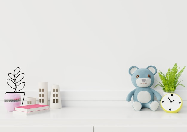 Mock up espaço vazio no interior do quarto de criança, renderização em 3d