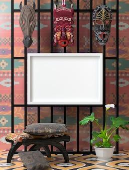 Mock up étnico interior. cadeira de madeira com travesseiro colorido macio
