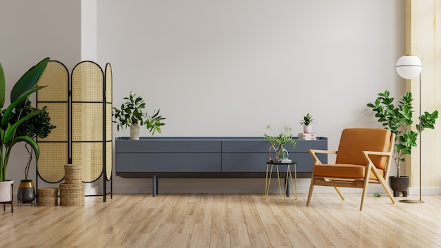 Mock up gabinete na moderna sala de estar com poltrona de couro e planta no fundo da parede branca, renderização em 3d
