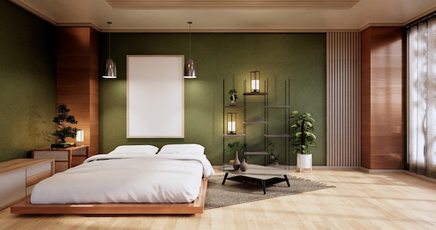 Mock up interior com planta de cama zen e decoartion no quarto verde japonês. renderização 3d.