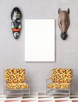 Mock up interior. duas cadeiras com estofamento de leopardo colorido.