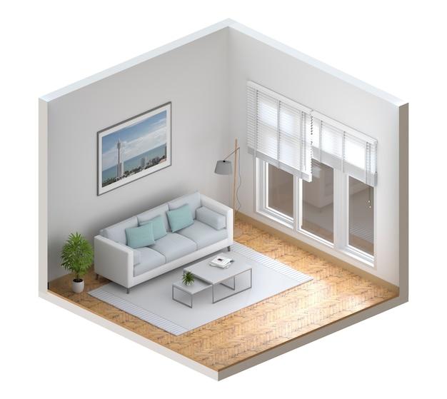 Mock up interior moderna sala de estar, render 3d