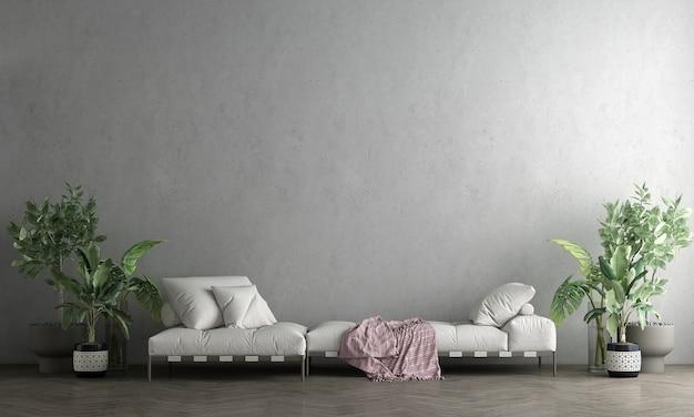 Mock up mínimo e móveis de decoração de sala de estar e fundo de textura de parede de concreto renderização 3d