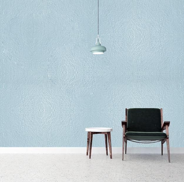 Mock up mínimo e móveis e sala de estar e textura de parede vazia design de interiores