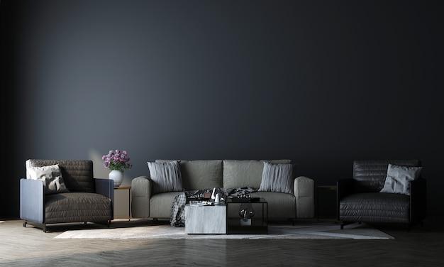 Mock up moderno de design de decoração de sala de estar luxuosa e fundo de textura de parede azul vazia