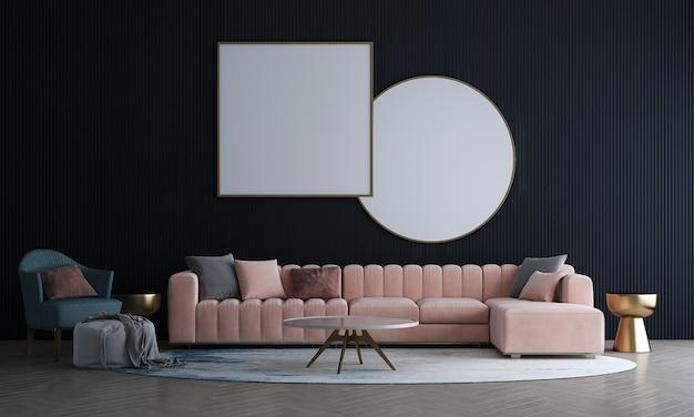 Mock up moderno de design de sala de estar e decoração de fundo de parede preta e sofá com mesa lateral dourada renderização em 3d