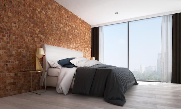 Mock up moderno decoração e móveis e quarto e textura de parede de tijolo design de interiores de fundo