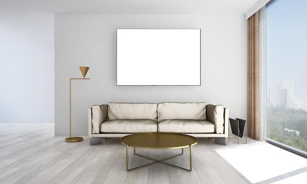 Mock up moderno decoração e móveis e sala de estar e design de interiores de fundo de textura de parede vazia