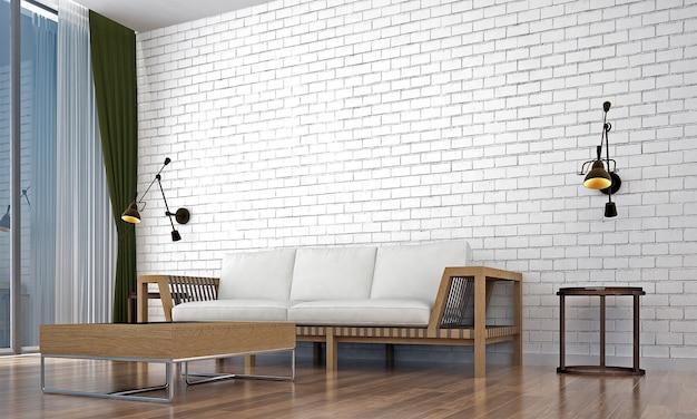Mock up moderno decoração e móveis e sala de estar e textura de parede branca design de interiores