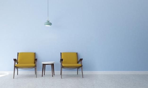 Mock up moderno decoração e móveis e sala de estar e textura de parede ciano design de interiores