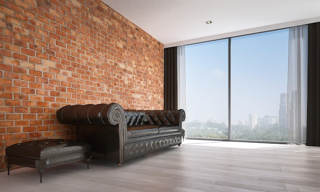 Mock up moderno decoração e móveis e sala de estar e textura de parede de tijolo design de interiores
