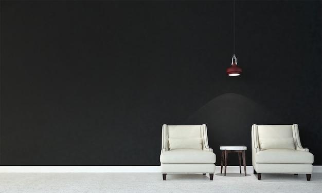 Mock up moderno decoração e móveis e sala de estar e textura de parede preta design de interiores