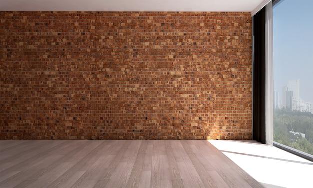 Mock up moderno decoração e sala de estar e textura de parede de tijolo vermelho design de interiores de fundo