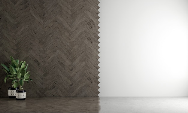 Mock up moderno e aconchegante design de decoração de sala de estar vazia e textura de parede vazia de madeira e branca.
