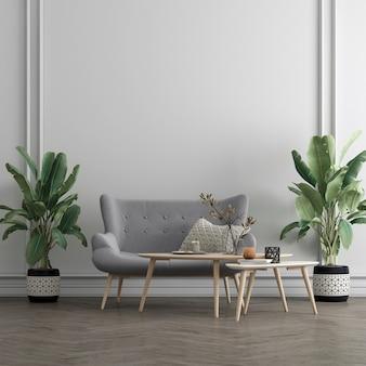 Mock up moderno e aconchegante design de interiores de decoração de sala de estar e fundo de textura de parede