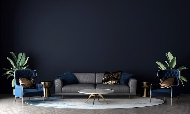 Mock up moderno e aconchegante e móveis de decoração de sala de estar e fundo de textura de parede azul. renderização 3d