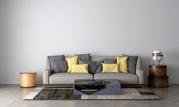 Mock up moderno e aconchegante e móveis de decoração de sala de estar e fundo de textura de parede renderização 3d