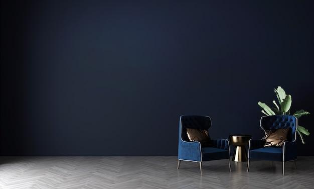 Mock up moderno e móveis de decoração de sala de estar e fundo de textura de parede renderização 3d