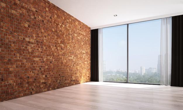 Mock up moderno e sala de estar vazia e design de interiores de fundo de textura de parede de tijolo