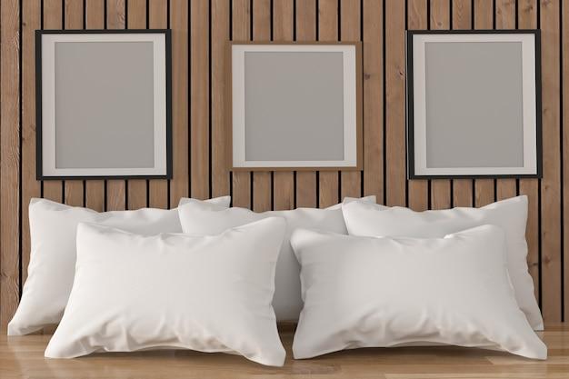 Mock up moldura com almofadas brancas no interior do quarto em renderização em 3d