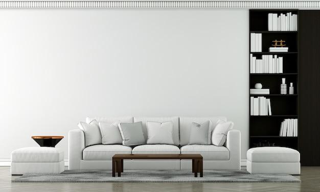 Mock up móveis e design de interiores de sala de estar de luxo moderno e decoração de móveis