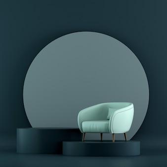 Mock up móveis e design de interiores de sala de estar em azul mínimo e decoração de móveis