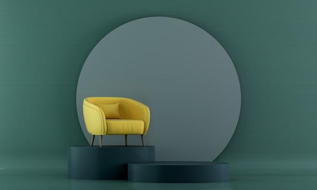 Mock up móveis e design de interiores de salas de estar modernos e decoração de móveis
