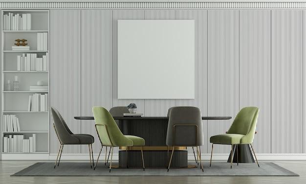Mock up móveis e design de interiores de salas de jantar modernos e decoração de móveis