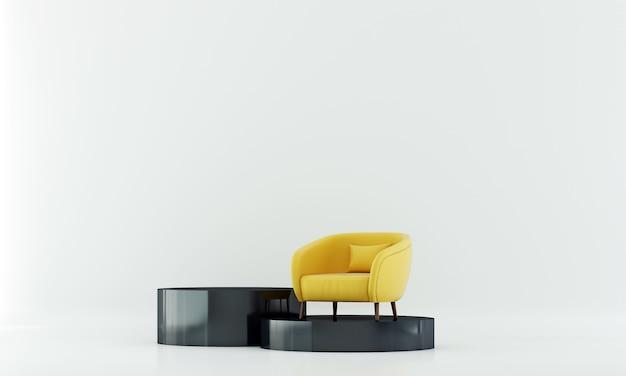 Mock up móveis e minimalista branco design de interiores de sala de estar e decoração de móveis