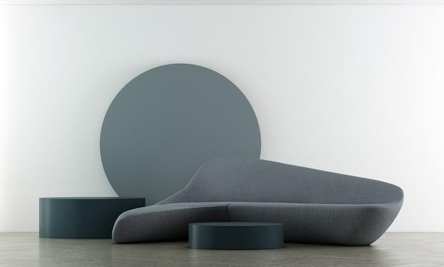 Mock up móveis e minimalista design de interiores de sala de estar e decoração de móveis