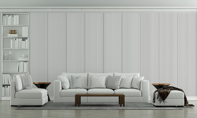Mock up móveis, um luxuoso design de interiores de sala de estar e decoração de móveis
