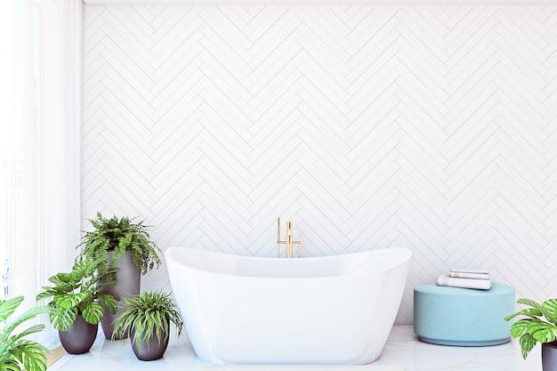 Mock up parede no banheiro com flores de interior na cor branca da parede background3d render