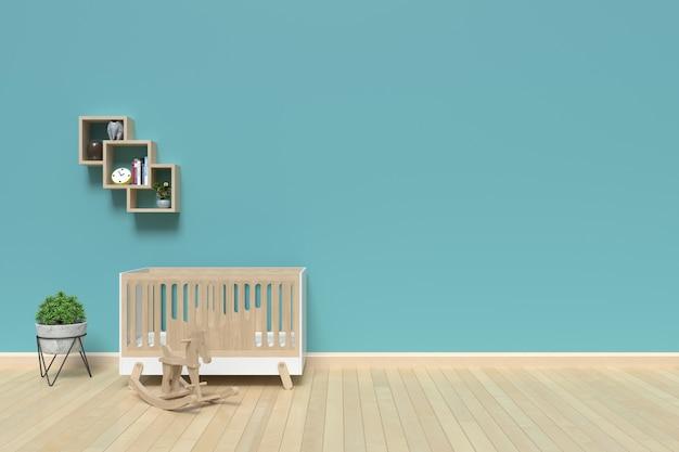 Mock up parede no interior do quarto de criança, renderização em 3d