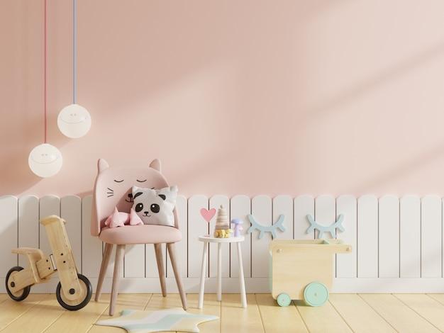 Mock up parede no quarto das crianças com cadeira em fundo de parede de cor rosa claro, renderização em 3d