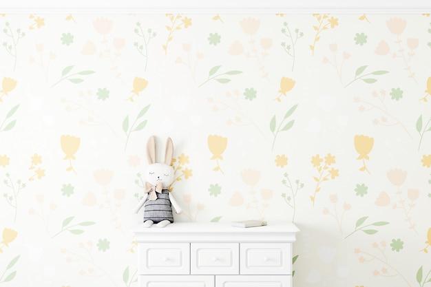 Mock up parede no quarto das crianças em fundo de parede de flores renderização em 3d