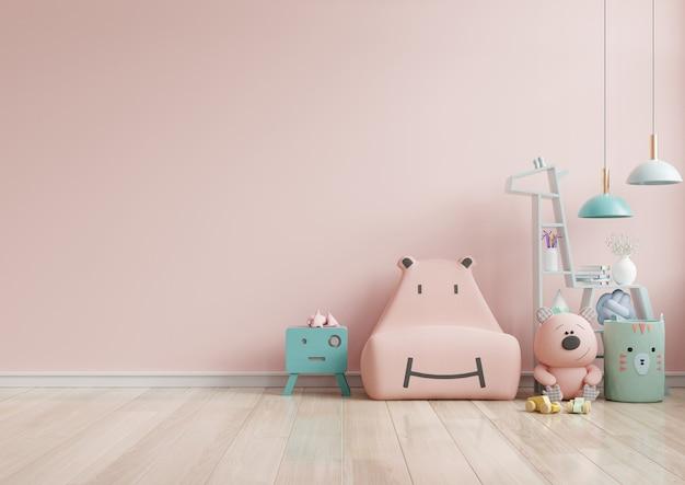 Mock up parede no quarto das crianças em parede de cor rosa claro