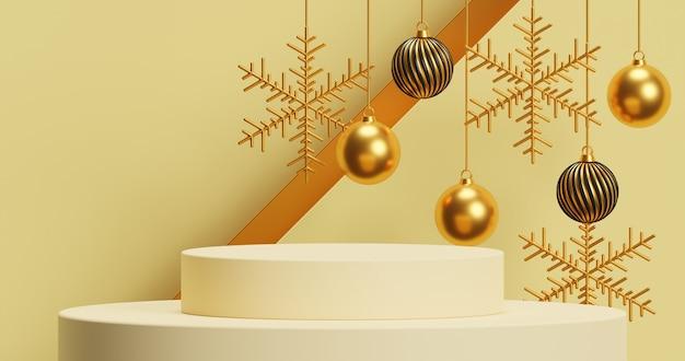 Mock up pódio para apresentação de produto conceito mínimo abstrato natal e ano novo