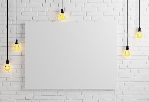 Mock up pôster com lâmpadas de teto, renderização em 3d