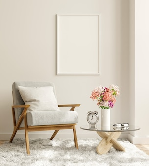 Mock up pôster em design de interiores de sala de estar moderna com parede branca vazia